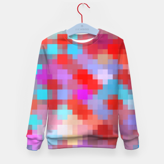 Thumbnail image of geometric square pixel pattern abstract in pink red blue Kid's sweater, Live Heroes