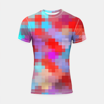 Thumbnail image of geometric square pixel pattern abstract in pink red blue Shortsleeve rashguard, Live Heroes