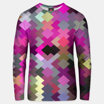 Miniatur geometric square pixel pattern abstract in purple pink yellow Unisex sweater, Live Heroes