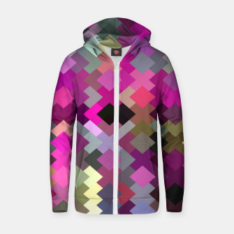 geometric square pixel pattern abstract in purple pink yellow Zip up hoodie thumbnail image