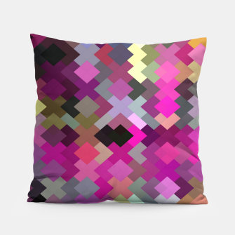 Thumbnail image of geometric square pixel pattern abstract in purple pink yellow Pillow, Live Heroes