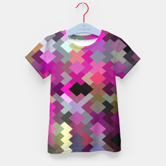 geometric square pixel pattern abstract in purple pink yellow Kid's t-shirt thumbnail image