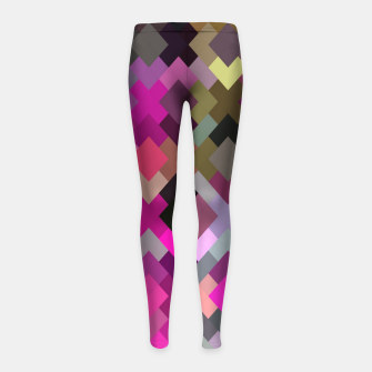 geometric square pixel pattern abstract in purple pink yellow Girl's leggings thumbnail image