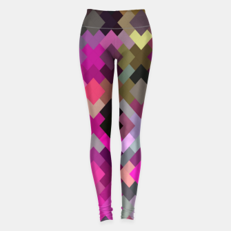 Miniatur geometric square pixel pattern abstract in purple pink yellow Leggings, Live Heroes
