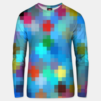 Miniatur geometric square pixel pattern abstract in blue pink red Unisex sweater, Live Heroes
