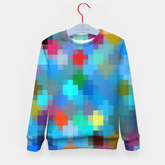 Thumbnail image of geometric square pixel pattern abstract in blue pink red Kid's sweater, Live Heroes