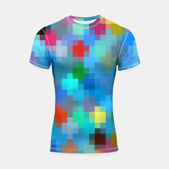 Thumbnail image of geometric square pixel pattern abstract in blue pink red Shortsleeve rashguard, Live Heroes