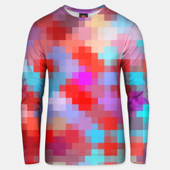 Miniatur geometric square pixel pattern abstract in pink red blue Unisex sweater, Live Heroes
