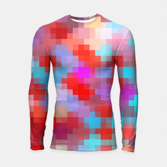 Thumbnail image of geometric square pixel pattern abstract in pink red blue Longsleeve rashguard , Live Heroes