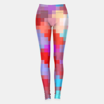 Miniatur geometric square pixel pattern abstract in pink red blue Leggings, Live Heroes