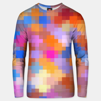 Miniatur geometric square pixel pattern abstract in pink blue orange Unisex sweater, Live Heroes