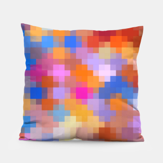 Thumbnail image of geometric square pixel pattern abstract in pink blue orange Pillow, Live Heroes