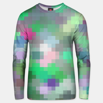 Miniatur geometric square pixel pattern abstract in green pink purple Unisex sweater, Live Heroes