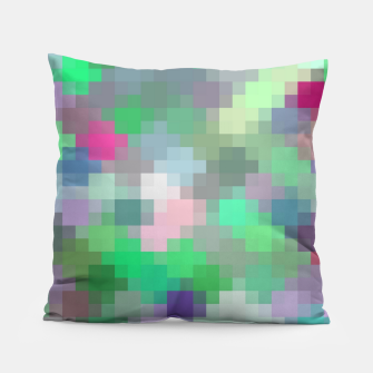 Thumbnail image of geometric square pixel pattern abstract in green pink purple Pillow, Live Heroes