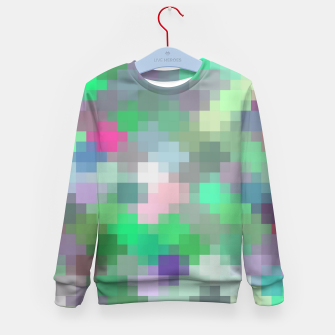 Thumbnail image of geometric square pixel pattern abstract in green pink purple Kid's sweater, Live Heroes