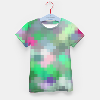 Thumbnail image of geometric square pixel pattern abstract in green pink purple Kid's t-shirt, Live Heroes
