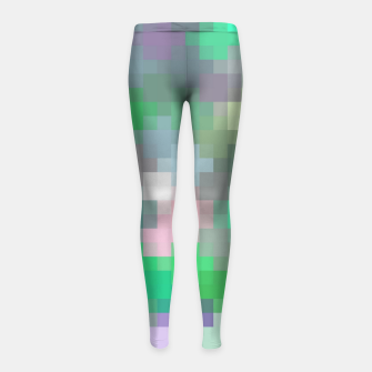 Thumbnail image of geometric square pixel pattern abstract in green pink purple Girl's leggings, Live Heroes