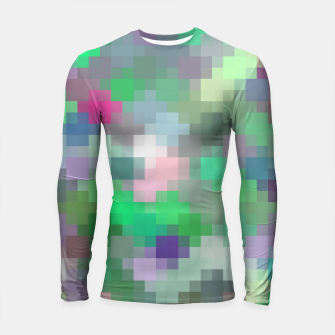 Thumbnail image of geometric square pixel pattern abstract in green pink purple Longsleeve rashguard , Live Heroes