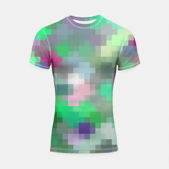 Thumbnail image of geometric square pixel pattern abstract in green pink purple Shortsleeve rashguard, Live Heroes