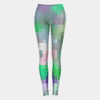 Thumbnail image of geometric square pixel pattern abstract in green pink purple Leggings, Live Heroes