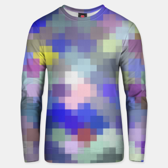 Thumbnail image of geometric square pixel pattern abstract in blue purple pink Unisex sweater, Live Heroes