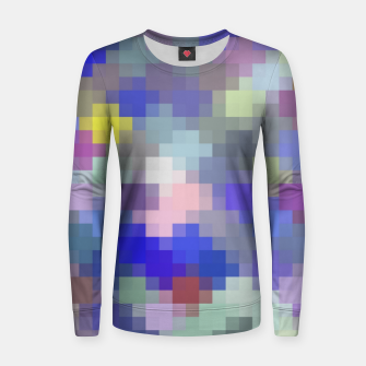 Thumbnail image of geometric square pixel pattern abstract in blue purple pink Women sweater, Live Heroes