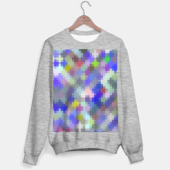 Thumbnail image of geometric square pixel pattern abstract in blue purple pink Sweater regular, Live Heroes