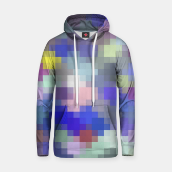 Thumbnail image of geometric square pixel pattern abstract in blue purple pink Hoodie, Live Heroes