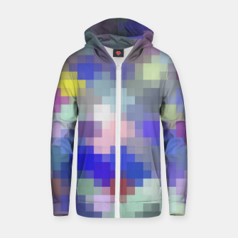 Thumbnail image of geometric square pixel pattern abstract in blue purple pink Zip up hoodie, Live Heroes