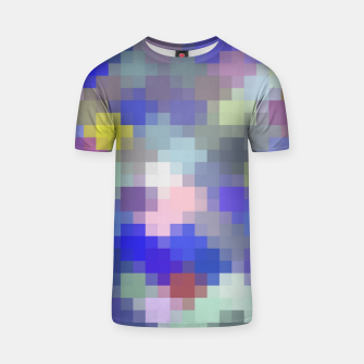 Thumbnail image of geometric square pixel pattern abstract in blue purple pink T-shirt, Live Heroes