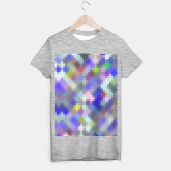 Thumbnail image of geometric square pixel pattern abstract in blue purple pink T-shirt regular, Live Heroes