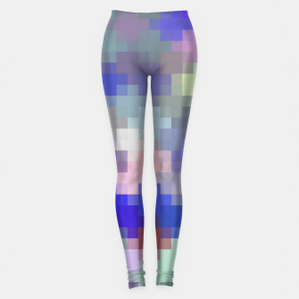 Thumbnail image of geometric square pixel pattern abstract in blue purple pink Leggings, Live Heroes