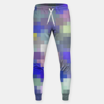 Thumbnail image of geometric square pixel pattern abstract in blue purple pink Sweatpants, Live Heroes