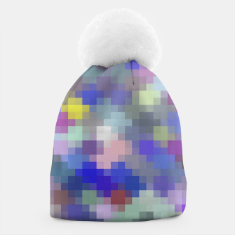 Thumbnail image of geometric square pixel pattern abstract in blue purple pink Beanie, Live Heroes