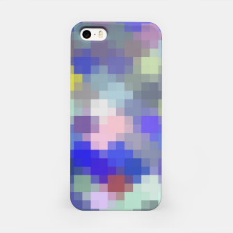 Thumbnail image of geometric square pixel pattern abstract in blue purple pink iPhone Case, Live Heroes