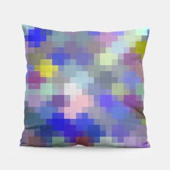 Thumbnail image of geometric square pixel pattern abstract in blue purple pink Pillow, Live Heroes