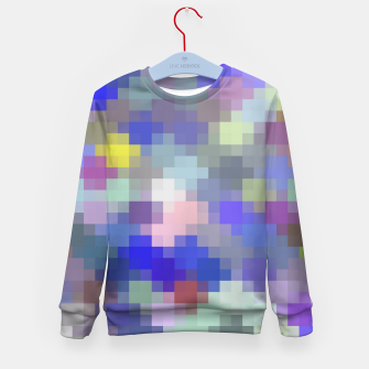 Thumbnail image of geometric square pixel pattern abstract in blue purple pink Kid's sweater, Live Heroes