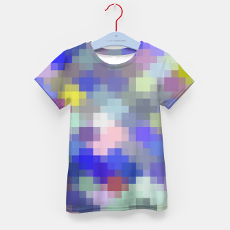 Thumbnail image of geometric square pixel pattern abstract in blue purple pink Kid's t-shirt, Live Heroes