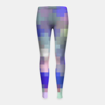 Thumbnail image of geometric square pixel pattern abstract in blue purple pink Girl's leggings, Live Heroes