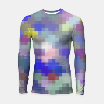 Thumbnail image of geometric square pixel pattern abstract in blue purple pink Longsleeve rashguard , Live Heroes