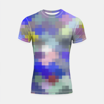 Thumbnail image of geometric square pixel pattern abstract in blue purple pink Shortsleeve rashguard, Live Heroes