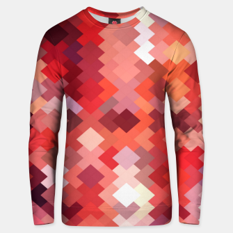 Thumbnail image of geometric square pixel pattern abstract in red and brown Unisex sweater, Live Heroes