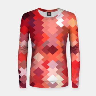 Thumbnail image of geometric square pixel pattern abstract in red and brown Women sweater, Live Heroes