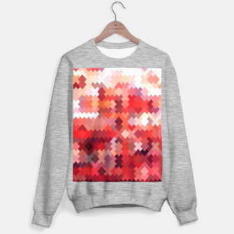 Thumbnail image of geometric square pixel pattern abstract in red and brown Sweater regular, Live Heroes