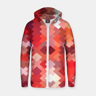 Thumbnail image of geometric square pixel pattern abstract in red and brown Zip up hoodie, Live Heroes