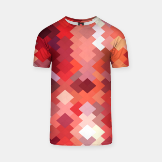Thumbnail image of geometric square pixel pattern abstract in red and brown T-shirt, Live Heroes