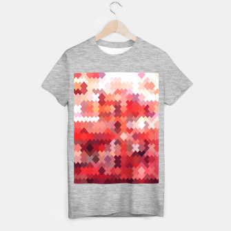 Thumbnail image of geometric square pixel pattern abstract in red and brown T-shirt regular, Live Heroes