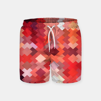 Thumbnail image of geometric square pixel pattern abstract in red and brown Swim Shorts, Live Heroes