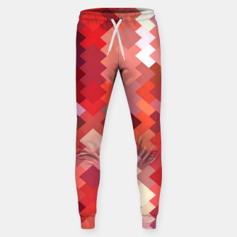 Thumbnail image of geometric square pixel pattern abstract in red and brown Sweatpants, Live Heroes