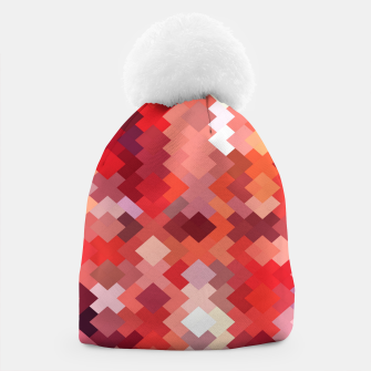 Thumbnail image of geometric square pixel pattern abstract in red and brown Beanie, Live Heroes